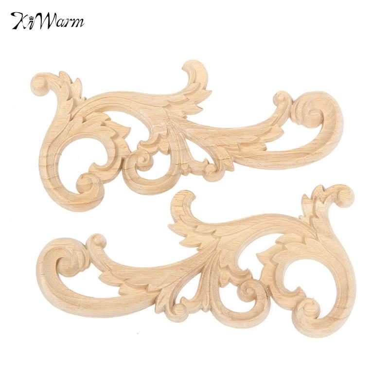 KiWarm On Sale 26x12CM Wood Carved Corner Onlay Applique Woodcarving Decal Furniture Home Door Decoration Decorative Sculptures