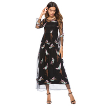 two piece dress large size 3xl women summer dress 2019 long maxi loose flowy dress elegant embroidery mesh casual dress 0108 mesh checkered flowy dress