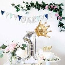2PCS Silber 32 zoll Anzahl Folien Ballons Digit Air Ballon Kinder Geburtstag Party Wild One Dekorationen Abbildung Decoracao Coroa globos