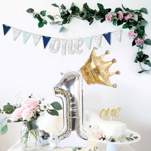2PCS Silver 32inch Number Foil Balloons Digit Air Ballon Kids Birthday Party Wild One Decorations Figure Decoracao Coroa Globos