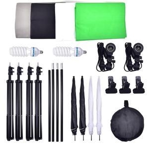 Image 5 - Zuochen 2 × 135w estúdio de fotografia guarda chuvas kit iluminação branco preto verde cinza pano de fundo luz suporte + kit refletor