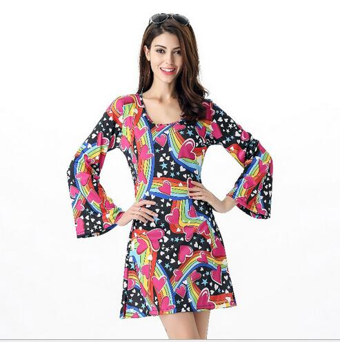 Free Shipping 2016 New Arrival 60s 70s Go Retro Hippie Dancing Groovy Party Disco Fancy Dress Up Costume