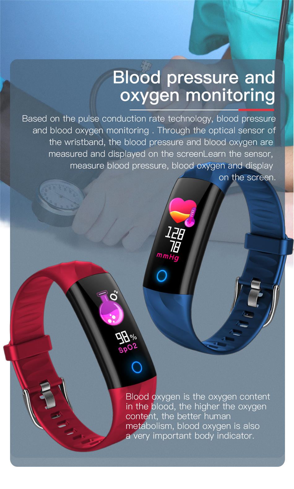 pulseira inteligente bluetooth banda inteligente pressão arterial