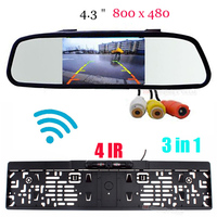 Wireless Parking Systems HD 4.3 INCH Full Mirror Car Monitors Europe License Plates Camera Car Reversing Rear View Cam