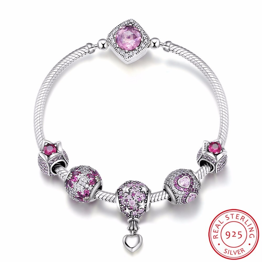 Authentic 925 Sterling Silver Pink CZ Infinity Flower Hot Air Balloon Bracelets & Bangles for Women Silver Jewelry SCB803 tongzhe endless mens bracelets 2018 sterling silver 925 cz rose gold charm infinity tennis bracelets for women jewelry pulsera