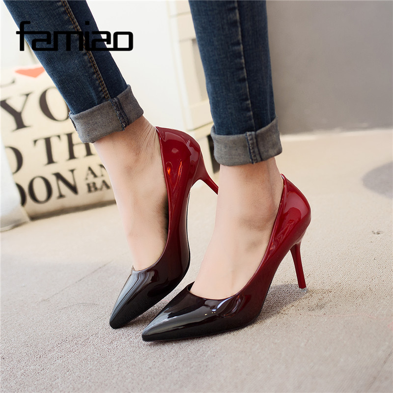 ae153b1dee5 MS 2018 Women pumps Fashion pointed toe patent leather stiletto high heels  shoes Spring Summer Wedding