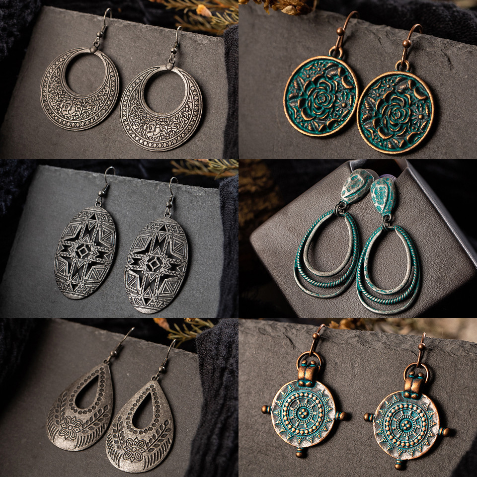 New Vintage Bohemia Black Hollow Water Droplets Round Circle Leaves Roses Tassel Women's Earrings Charm Ethnic Jewelry