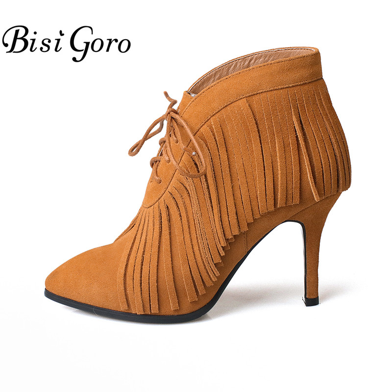 BISI GORO New High Heel Boots Female Lace Up Brown Black Women Ankle Boots Pointed Toe Suede Boots Shoes Woman Martin Boots front lace up casual ankle boots autumn vintage brown new booties flat genuine leather suede shoes round toe fall female fashion