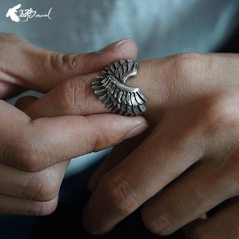 Ручной работы Модные Крылья Ангела палец кольцо для женщин ювелирные изделия Свадебные крылатые перья угловатое кольцо подарок Индивидуал