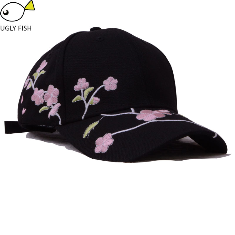 baseball cap women cap white black cap with embroidery flower dad ... 15dd2308510