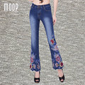 Plus size American style boho floral embroidery design denim pants flare pants trousers bottom pantalones mujer LT851 Free Ship