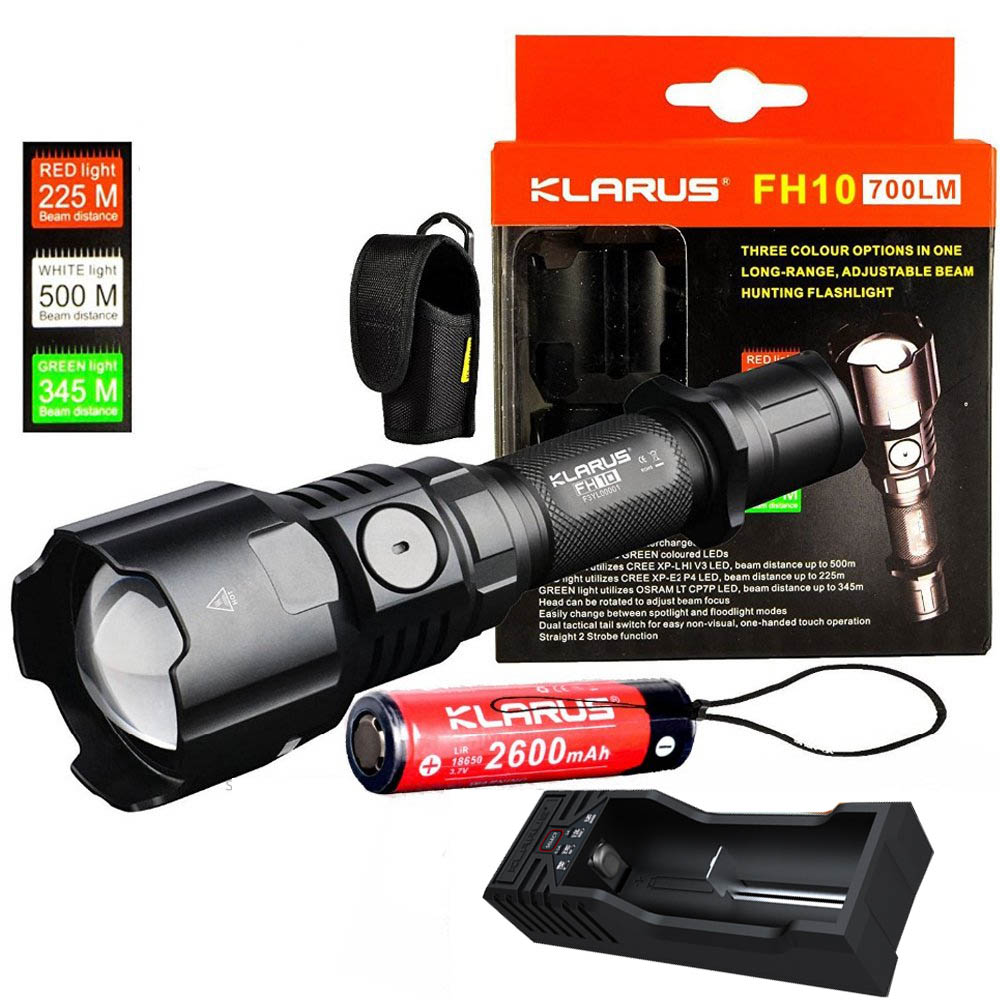 KLARUS FH10 Tactical Flashlight Red Green White LEDs max 700 lumen Adjustable beam 500 meter hunting torch with battery charger
