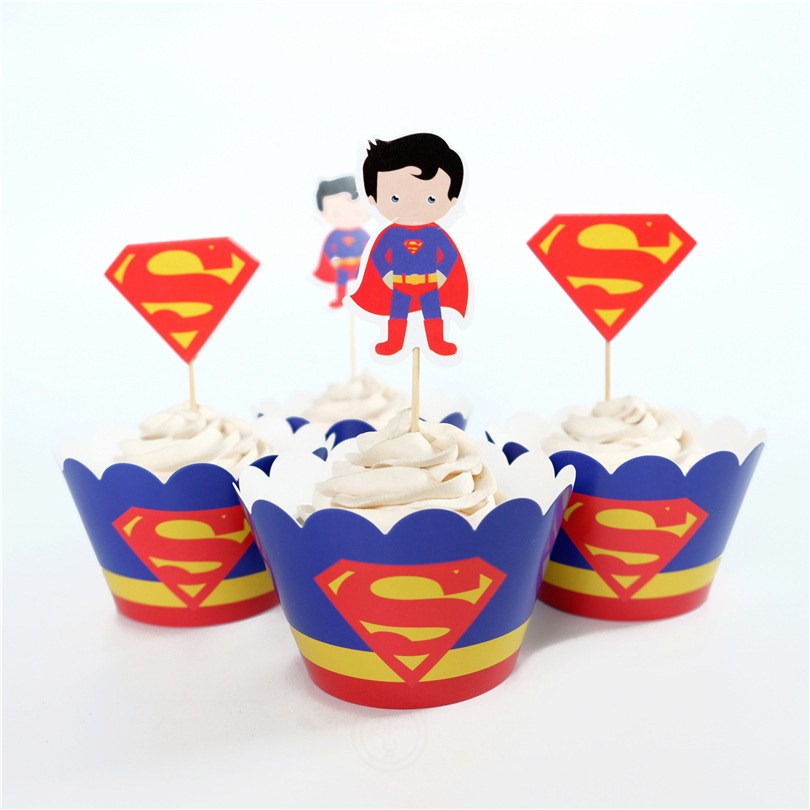 Free Shipping 24Pcs SpidermanSuperman Cupcake Wrappers Decoration Kids Boy's Birthday Party Favors With Cupcake Insert Card