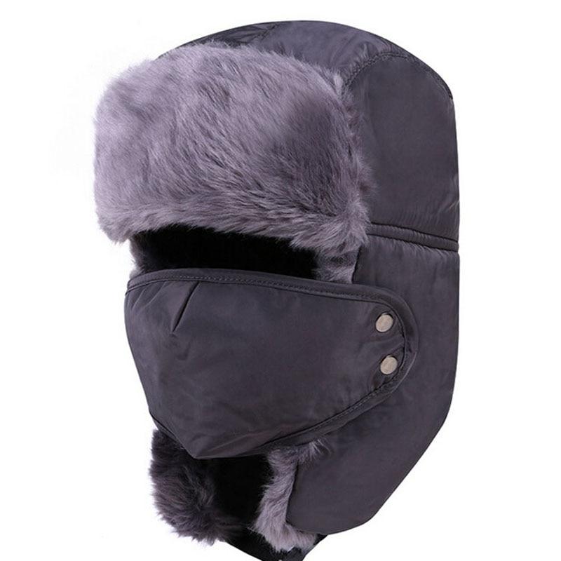 New Men russian Winter fur ushanka hats Windproof Thick warm winter snow  women cap Face Mask men s bomber hat Earflap Ski Hats-in Skullies   Beanies  from ... 37ea88a5dea