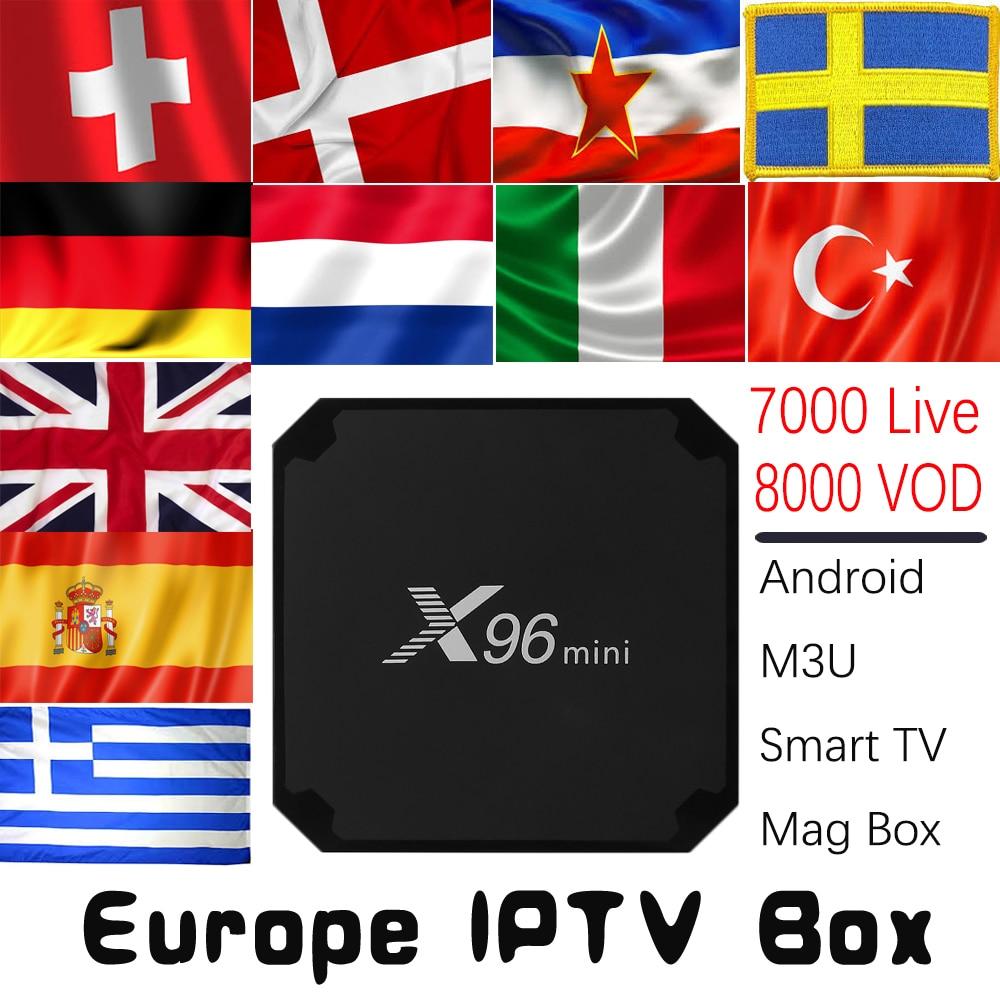 Europa IPTV X96mini Android 7.1 TV BOX con 7000 Live 8000 VOD Germania REGNO UNITO Spagna Italia Olandese Nordic Europa HD IPTV Set Top Box
