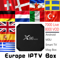 Europe IPTV X96mini Android 7.1 TV BOX with 7000 Live 8000 VOD Germany UK Spain Italy Dutch Nordic Europe HD IPTV Set Top Box