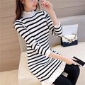 35 new Korean winter knitting dress slim in the long section of lotus leaf half turtleneck striped sweater F1527