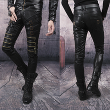 Free shipping ! Autumn winter leather pants personality mens leather pants black red white slim punk pants dance street zipper