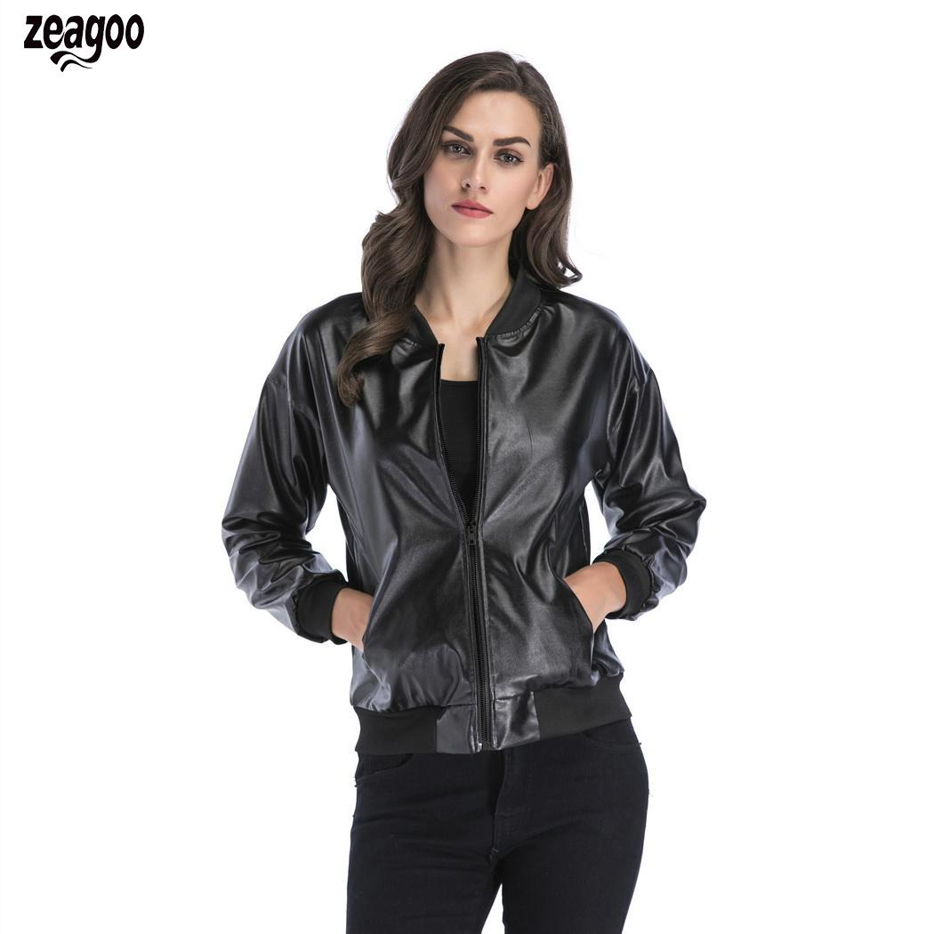 Women Casual Stand Collar Long Sleeve Solid Spring, Autumn Synthetic   Leather   Zipper Loose Regular Jacket