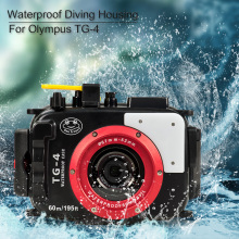 For Olympus TG4 Case 60M/195ft Underwater Diving Camera Housing Waterproof With Dual Fiber-Optic ports