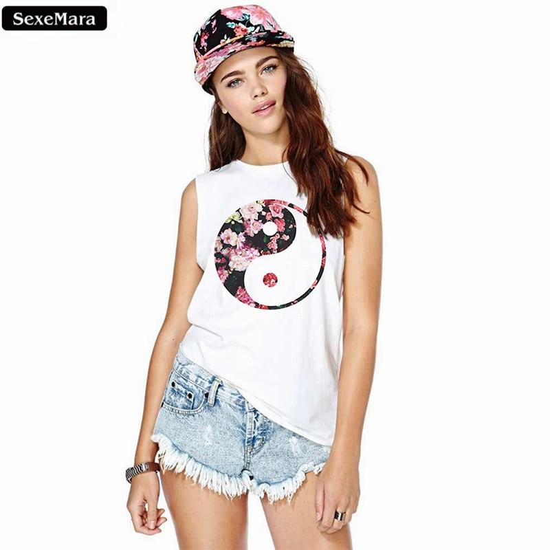 d4d7876fcf Sexemara ocho diagramas de flores impreso camisetas sin mangas ocasional mujeres  chaleco blanco delgado moda mujer casual camiseta f1113