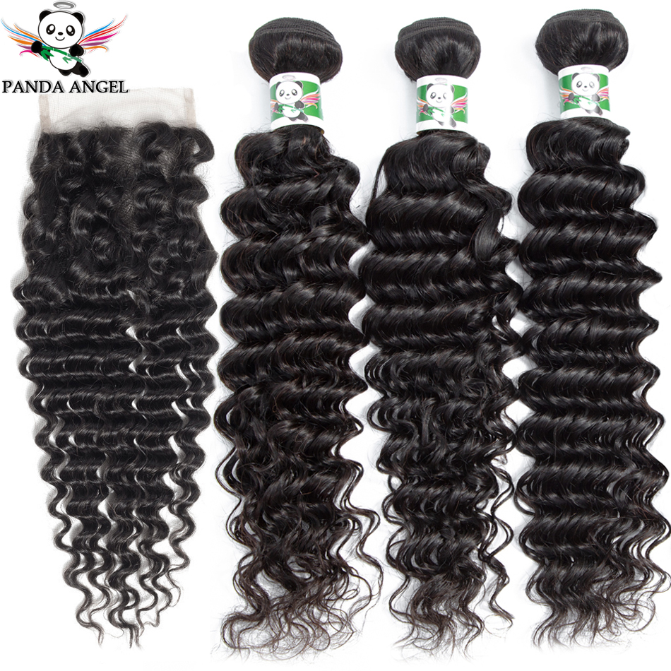 Brazilian Deep Wave Bundles With Closure Human Hair Extensions Wet and Wavy Bundles With Closure Brazilian Hair Weave Bundles