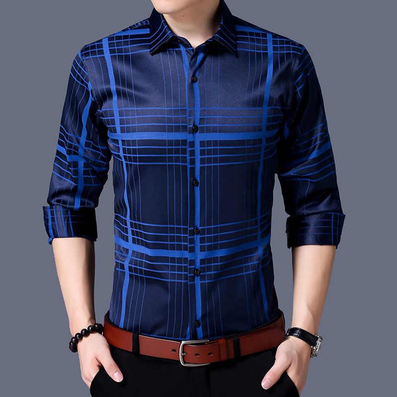 ... о Мужская одежда 2018 Весенняя мода Англия Стиль рубашка в клетку  Сельма Fit Camisa Masculina с длинным рукавом Chemise Homme мужская одежда  рубашки на ... be5c5d51c5c
