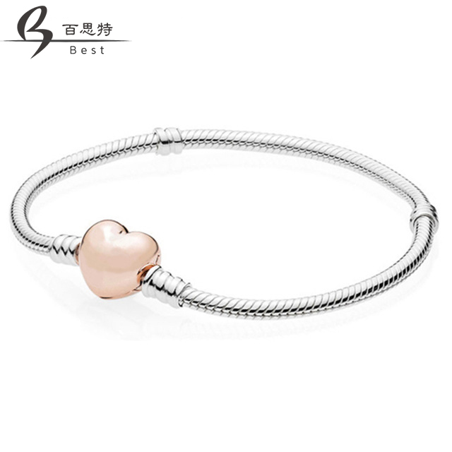 BEST 100% 925 Sterling-Silver-Jewelry 580719 Bracelets for Women DIY Beads Jewelry Making Rose Gold Color Heart Clasp BraceletBEST 100% 925 Sterling-Silver-Jewelry 580719 Bracelets for Women DIY Beads Jewelry Making Rose Gold Color Heart Clasp Bracelet