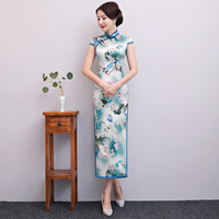New Arrival Womens Cheongsam Traditional Chinese Style Silk Long Qipao Summer Slim Dress Vestidos Size M L XL XXL XXXL 1951