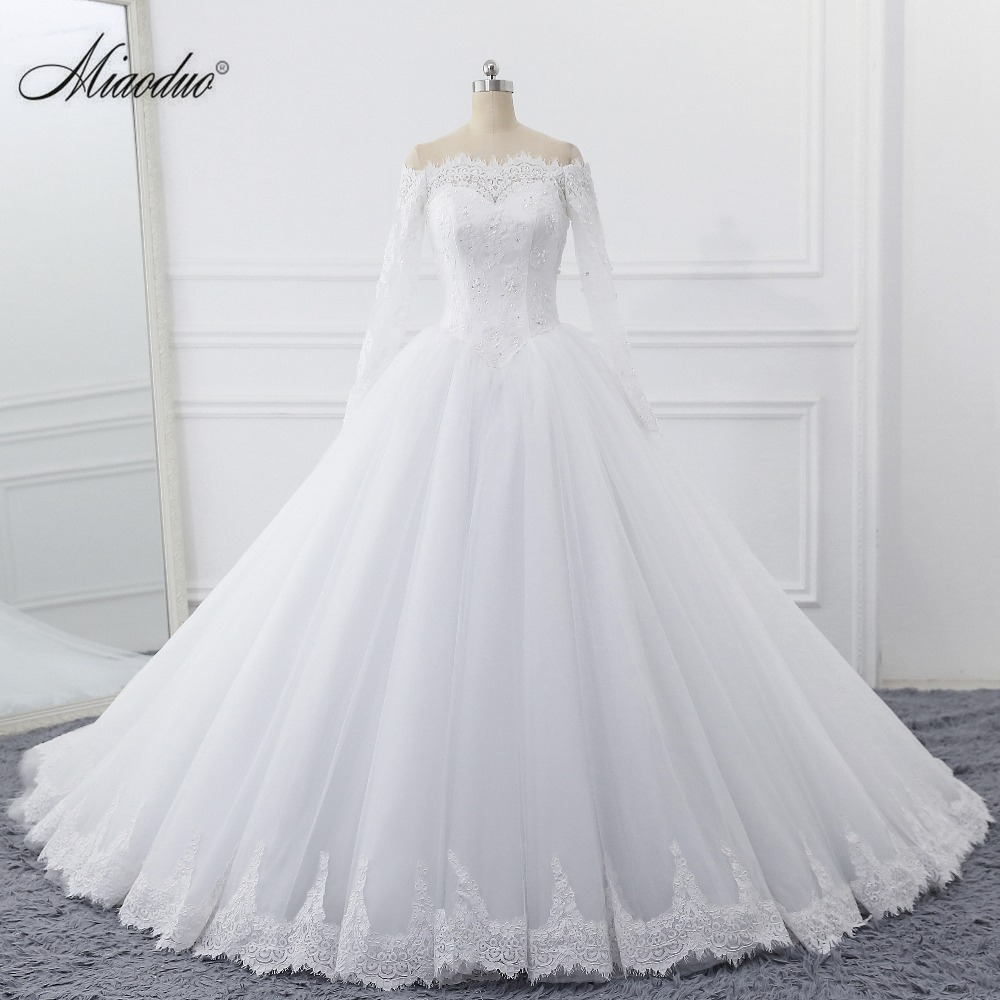 Miaoduo Beading Wedding Dresses With Long Sleeves Actual Photos Customer Order Wedding Dress Princess Turkey Vestido