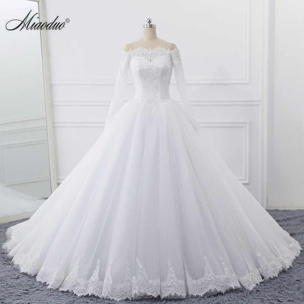 Vestidos de Noiva 2020 Abito Da Sposa Della Principessa Plus Size Off Spalla Perline Appliques Del Merletto Vestito Da Sposa A Maniche Lunghe Robe De da sposa da sposa
