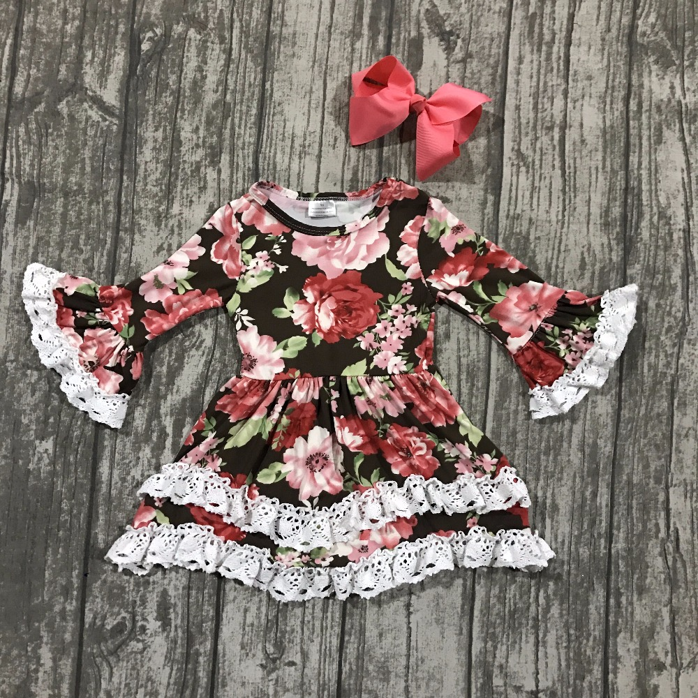 Fall/winter baby girls children clothes cotton ruffle long sleeve dress floral flower coral milk silk boutique match clip bow free ship fall winter long sleeve children clothing sets infant girls ruffle outfits knitted cotton newborn baby clothes f110