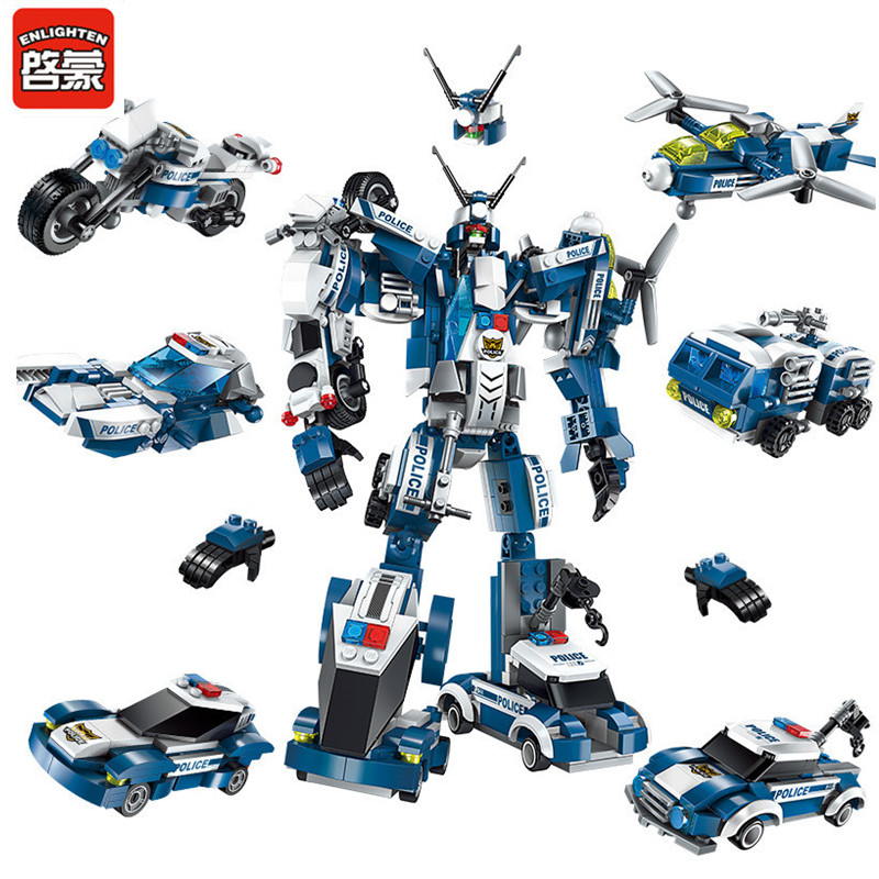 ENLIGHTEN 577Pcs City Police SWAT War Generals Robot Juguetes Building Blocks LegoINGLs Playmobil Educational Toys for Children