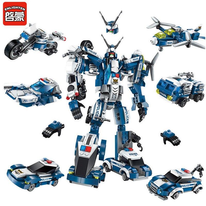 Iluminar 577 piezas de la policía de la ciudad de generales de la guerra Robot creador SWAT Compatible LegoING juegos de bloques de construcción juguetes para los niños