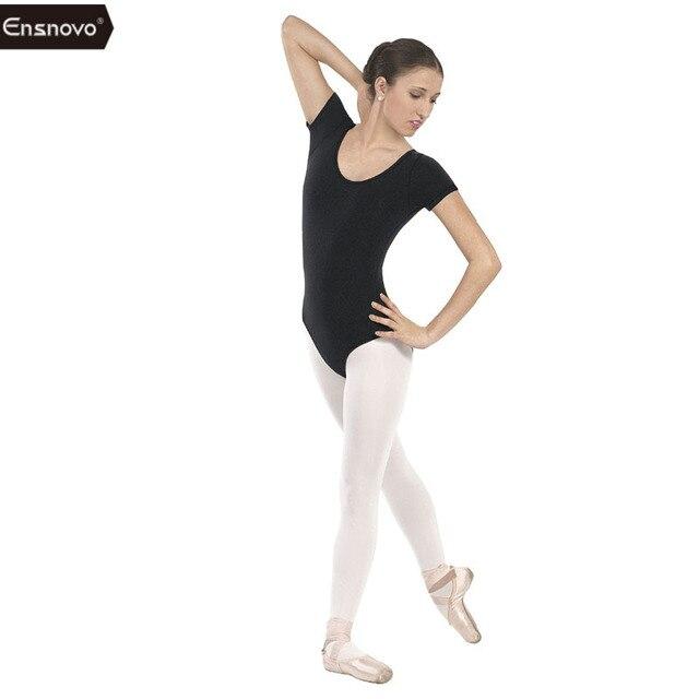 Ensnovo Women Tight Costume Body Ballet Leotard Gymnastics Justaucorps Dance  Lycra Nylon Short Sleeve Dancewear Suit cf31359bdf8f