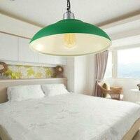Hierro 38 CM Diámetro verde Pantalla Lámpara Colgante Luz Colgante de Loft Nave Industrial American Country Style Droplight E27