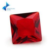 100pcs 3*3-10*10mm Garnet Color Princess Shape Loose Glass Gemstone Glass Beads Synthetic Gems