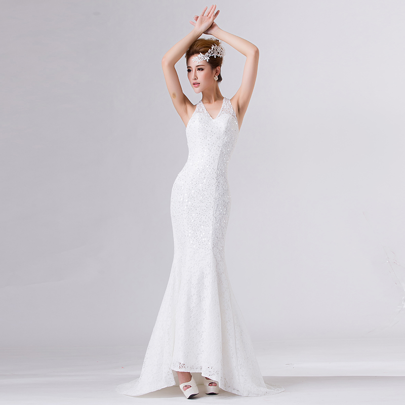 Racerback Bridal Dress To Wedding Party Night Gown Dinner