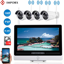 IMPORX 4CH HD 1080P 13 LCD NVR Wifi Video Surveillance Kit 2MP Wireless CCTV System Security IP Camera Set Motion Detection 3TB