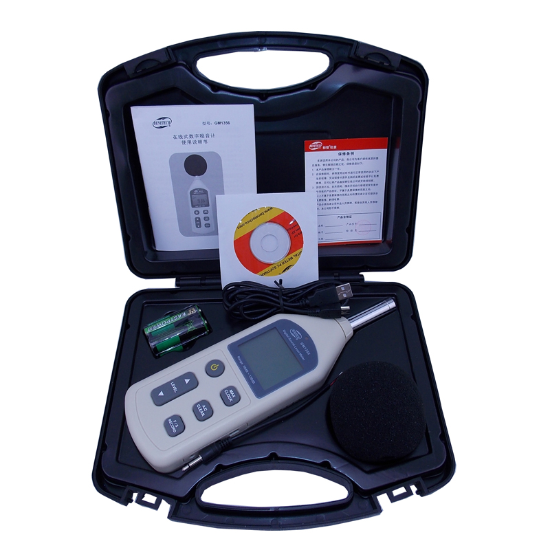 BENETECH Digital Sound Level Meter USB Noise Tester meter GM1356 30-130dB A/C FAST/SLOW dB+ Software WITHOUT BOX