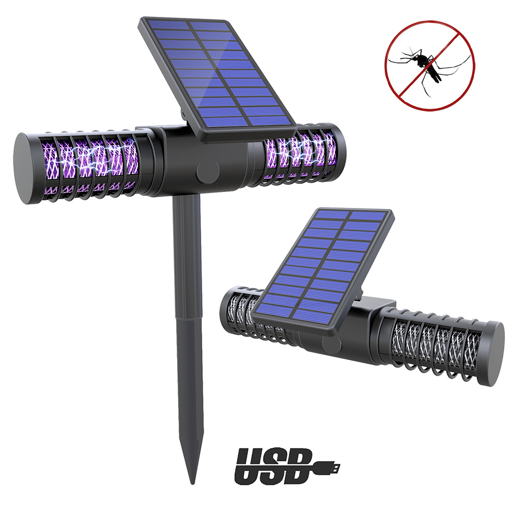 Solar USB Electronic Mosquito Killer Trap Bug Insect Pest UV Light Lamp Outdoor