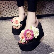 New 100% Handmade High Heels 11CM Women Slippers Fashion Flower Summer Wedges Flip Flops Platform Slippers Shoes