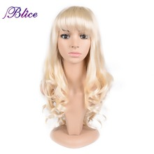 Blice Synthetic African American Wig For Women Long Natural Wavy Wig 24 100% Kanekalon Synthetic Wig Pure Color #613 Available long center parting corn hot wavy colormix synthetic wig
