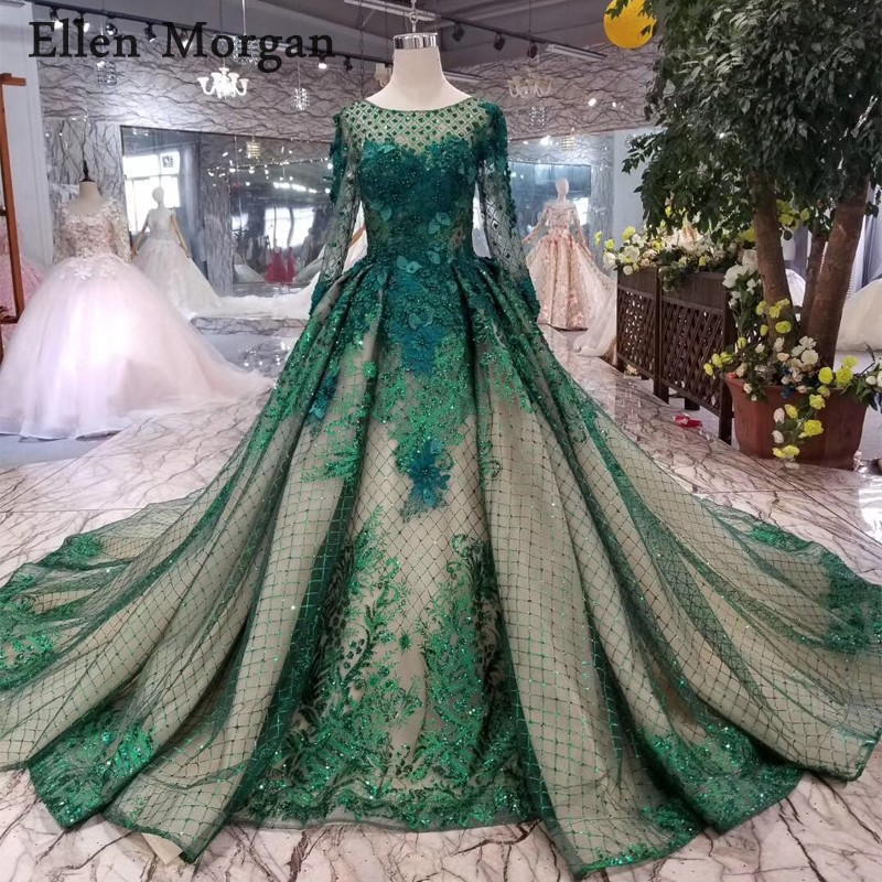 Dark Green Long Sleeves Wedding Dresses 2019 Boat Neck Chapel