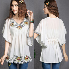ed28c3b6e20 2019 Hot Sale vintage 70s Mexican Ethnic Floral EMBROIDERED Hippie Blouses  Women Clothing Summer Tops Tunic