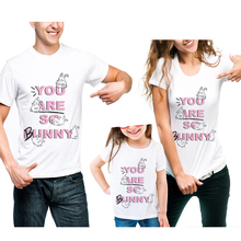 New Family Matching Clothing Summer Mother And Daughter Father Son Clothes Family Look T-Shirt Letter Printed Rabbit Cotton Tees family clothing matching mother daughter father son hooded hoodies letter causal t shirt for girls boys mae e filha family look