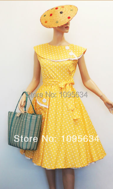bdb1d780a434 free shipping Plus Size Vtg 1950s style yellow Polka Dot Rockabilly Swing  Tea Dress S-6XL