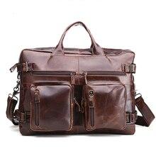 Новинка, винтажная сумка из натуральной кожи, мужская сумка через плечо, деловая мужская сумка через плечо, сумка для ноутбука, мужская дорожная сумка