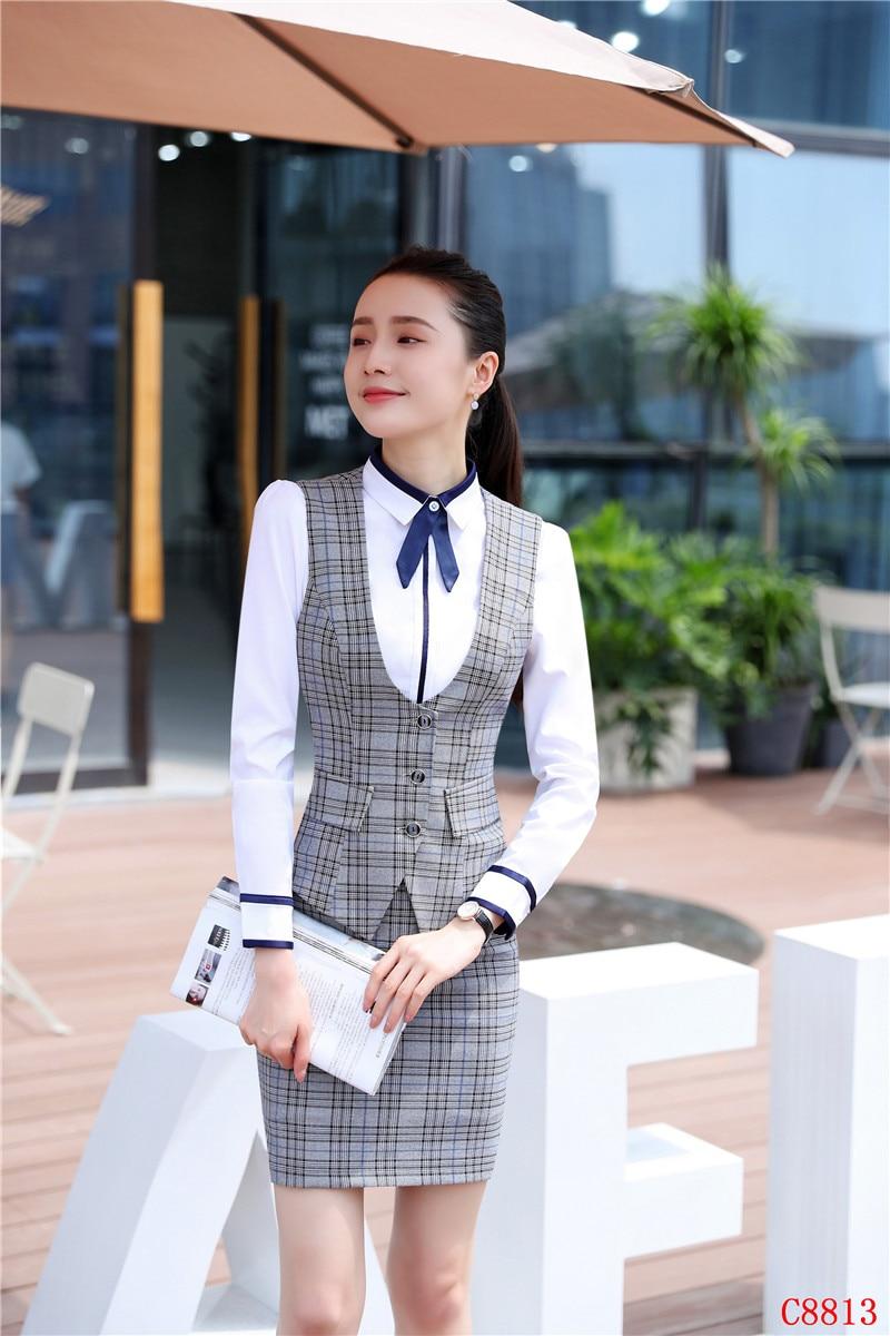 e85db53ac Moda mujer negocios trajes con falda y Top conjuntos chaleco y chaleco gris  Plaid Oficina señoras trabajo uniformes estilos en Trajes de falda de La  ropa de ...