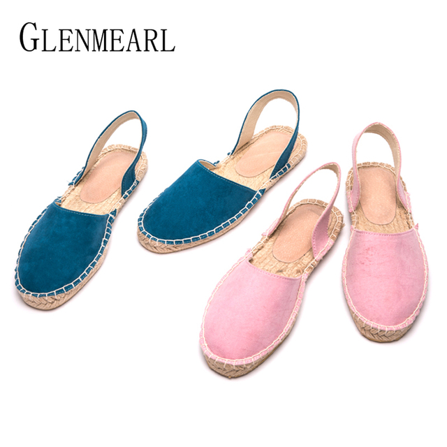 4bead2060 Brand Women Flat Sandals Summer Shoes Woman Straw Fishman Sandals Ladies  Flats Casual Shoes Round Toe Pink Navy Plus Size 43 DE